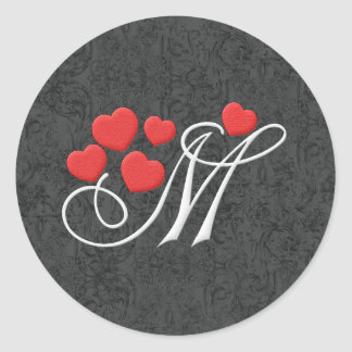 Elegant hearts letter M Classic Round Sticker