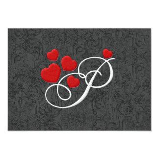 Elegant hearts letter P Personalized Invitation