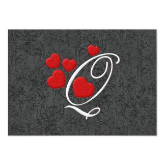 Elegant hearts letter Q Card