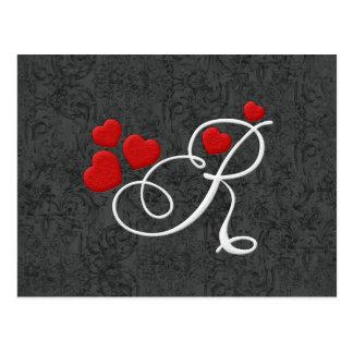 Elegant hearts letter R Postcard