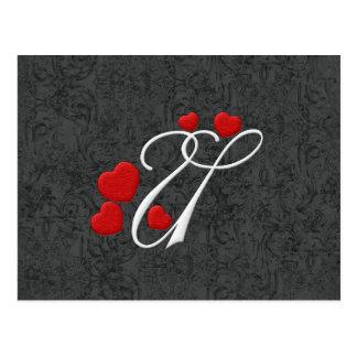 Elegant hearts letter U Postcard
