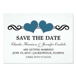 Elegant Hearts Save the Date Invite, Blue 5x7 Paper Invitation Card