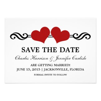 Elegant Hearts Save the Date Invite, Red