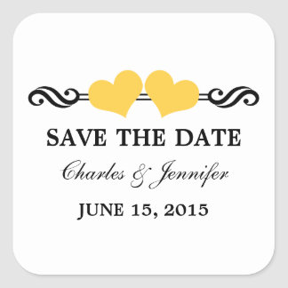 Elegant Hearts Save the Date Stickers, Yellow Square Sticker