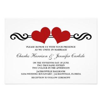 Elegant Hearts Wedding Invitation, Red