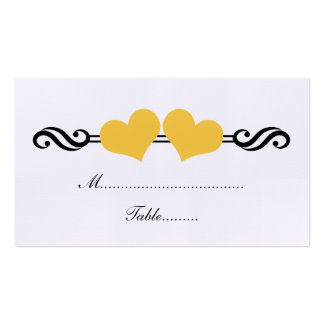 Elegant Hearts Wedding Place Card Yellow Business Card Templates