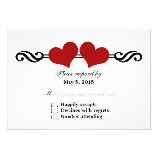 Elegant Hearts Wedding Response Card, Red