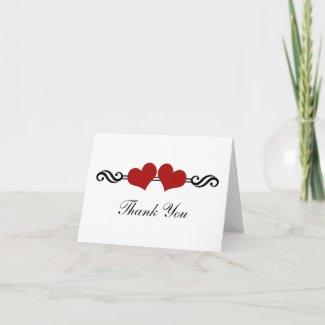 Elegant Hearts Wedding Thank You Card, Red