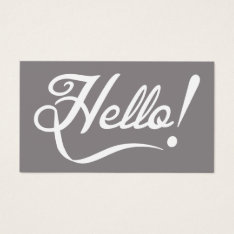 Elegant Hello Business Card at Zazzle