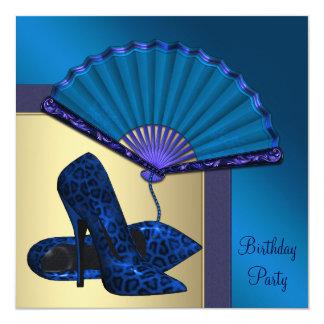 Elegant High Heel Royal Blue Gold Birthday Party Personalized Invitations