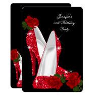 Elegant High Heels Red Rose Black Birthday Party Invitation