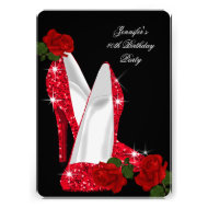 Elegant High Heels Red Rose Black Birthday Party Custom Invitation