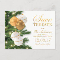 Elegant Holiday Christmas Party Save the Date Announcement Postcard