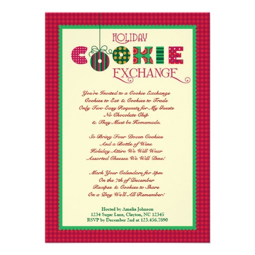 Elegant Holiday Cookie Exchange Invitation
