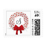 Elegant Holiday Custom Monogram Christmas Wreath Postage