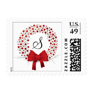 Elegant Holiday Custom Monogram Christmas Wreath Postage at Zazzle