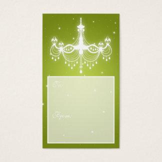Elegant Holiday Gift Tag Chandelier Lime
