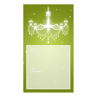 Elegant Holiday Gift Tag Chandelier Lime Business Card