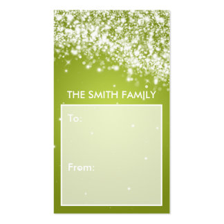 Elegant Holiday Gift Tag Sparkling Wave Lime Business Card