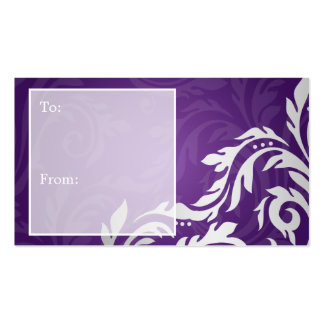 Elegant Holiday Gift Tag Swirly Flourish Purple Double-Sided Standard Business Cards (Pack Of 100)
