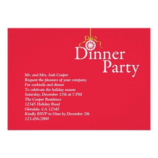 "Elegant Holiday Ornament Dinner Party Invitation 5"" X 7"" Invitation Card | Zazzle"
