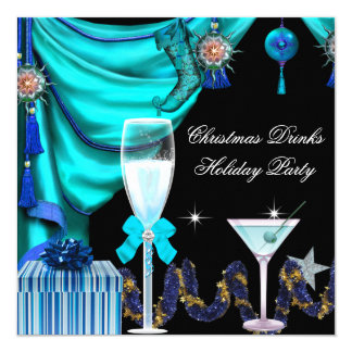 Elegant Holiday Party Christmas Blue White Drinks Card