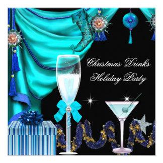 Elegant Holiday Party Christmas Blue White Drinks Custom Invites