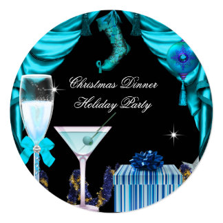 Elegant Holiday Party Christmas Blue White Drinks 5.25x5.25 Square Paper Invitation Card