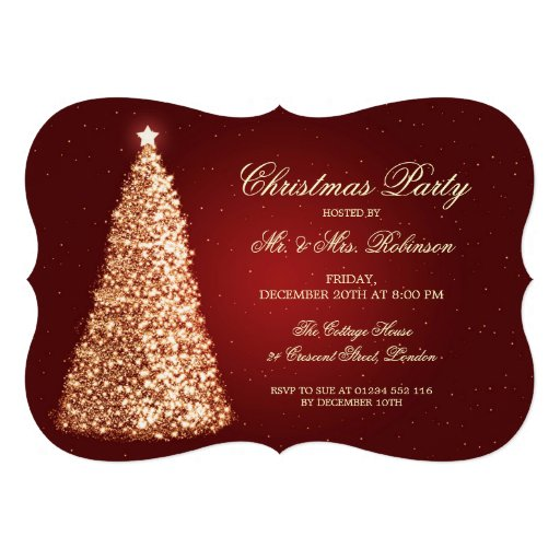 Elegant Holiday Party Gold Christmas Tree Red Announcements