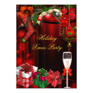 Elegant Holiday Party Green Gold Champagne Card at Zazzle