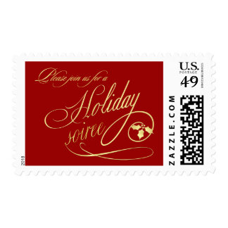Elegant Holiday Party Invitation Postage Stamps