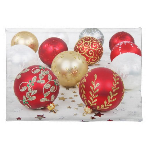 Elegant Holiday Placemats Vintage Ornaments Zazzle