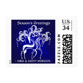 Elegant Holiday Reindeer Personalized Post Card Postage