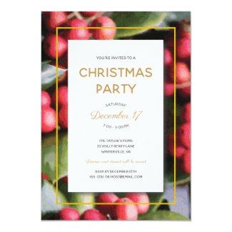 Elegant Holly Berries Christmas Party Invitation