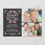 "Elegant Holly Chalkboard Christmas 2-Photo Cards<br><div class=""desc"">Vintage chalkboard style Merry Christmas holiday greeting card with photo template. Elegant black and white design with beautiful red poinsettia holly wreath, festive retro frame and decorative formal letterpress style typography on slate gray chalk board background. Add your favorite holiday family pictures and customize the text. Contemporary, classic, modern and...</div>"