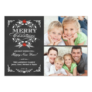 Elegant Holly Chalkboard Christmas 2-Photo Cards