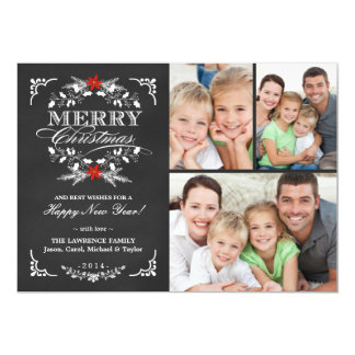 Elegant Holly Chalkboard Christmas 3-Photo Collage Card
