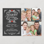 """Elegant Holly Chalkboard Christmas 3-Photo Collage Holiday Card<br><div class=""""desc"""">Vintage chalkboard style Merry Christmas holiday greeting card with photo template. Elegant black and white design with beautiful red poinsettia holly wreath, festive retro frame and decorative formal letterpress style typography on slate gray chalk board background. Add your three favorite holiday family pictures and customize the text. Cheerful and bright...</div>"""