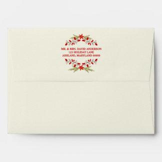 Elegant Holly Christmas Typography Envelope