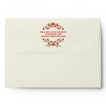 Christmas Themed Elegant Holly Christmas Typography Envelope