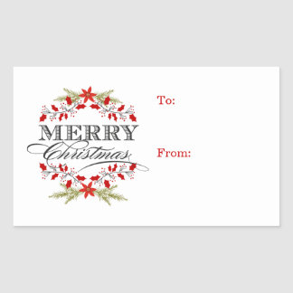 Elegant Holly Christmas Typography Gift Tags Rectangular Sticker