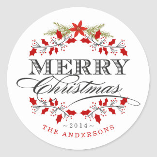 Elegant Holly Christmas Wreath Red & White Sticker