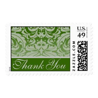 Elegant Holly Damask Thank You Postage Stamp