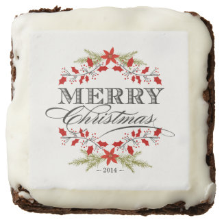 Elegant Holly Merry Christmas Typography Brownie