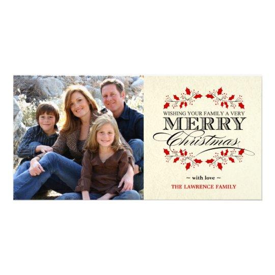 Elegant Holly Merry Christmas Typography Card