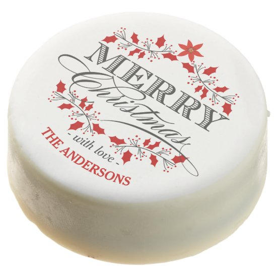 Elegant Holly Merry Christmas Vintage Typography Chocolate Covered Oreo