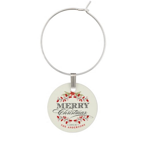 Elegant Holly Vintage Christmas Typography Wine Charms