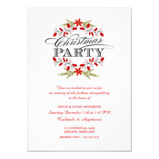 Elegant Holly Wreath Christmas Party Invitations at Zazzle