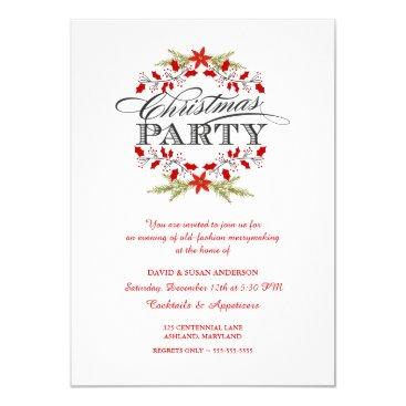 Christmas Themed Elegant Holly Wreath Christmas Party Invitations