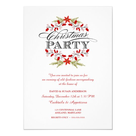 Elegant Holly Wreath Christmas Party Invitations | Zazzle